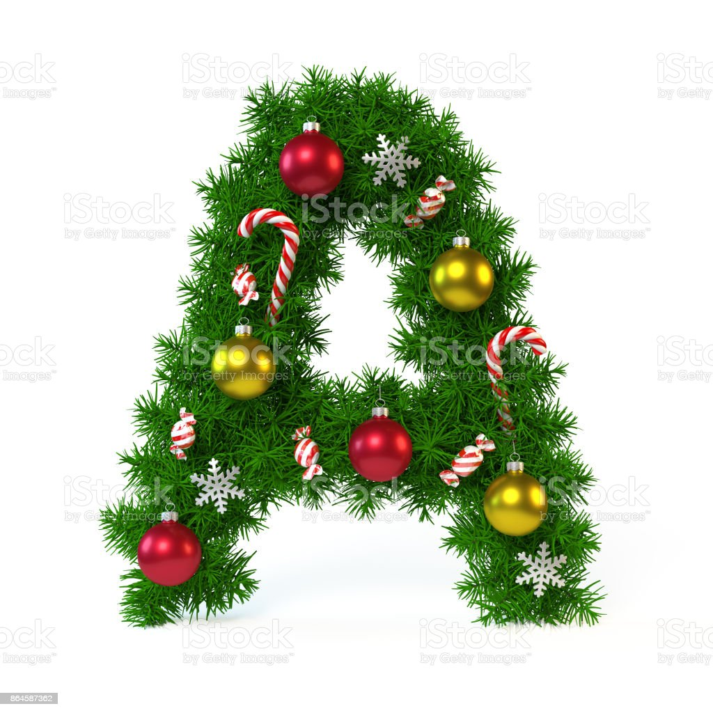 Christmas Font Isolated On White Letter A Stock Photo More