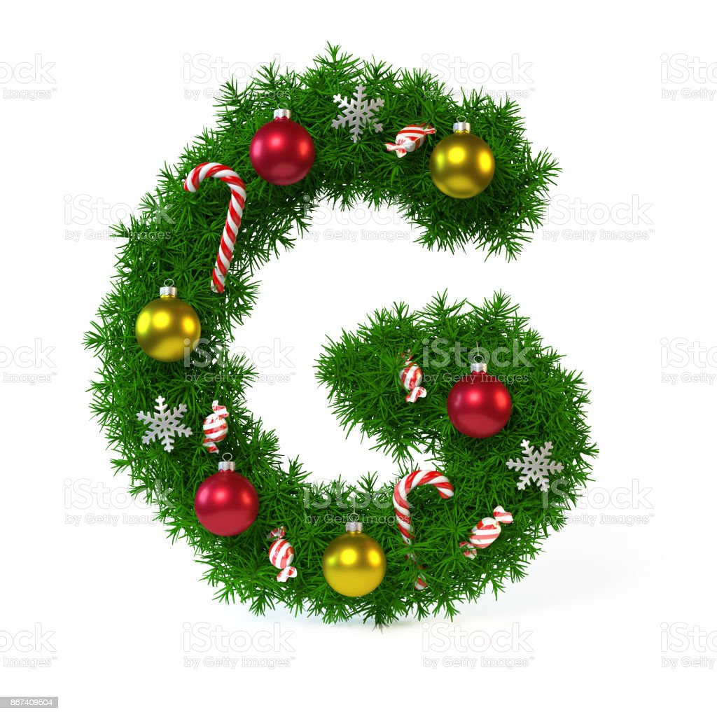 Christmas font isolated on white, letter G 3d rendering stock photo