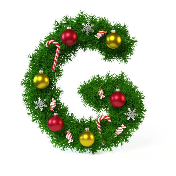 Christmas font isolated on white, letter G 3d rendering stock photo