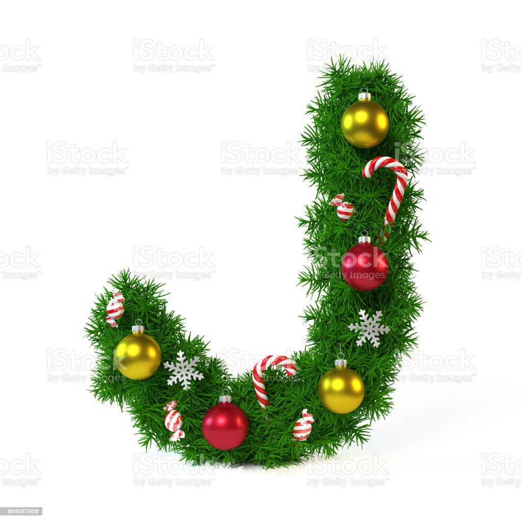 Christmas font isolated on white, letter J stock photo