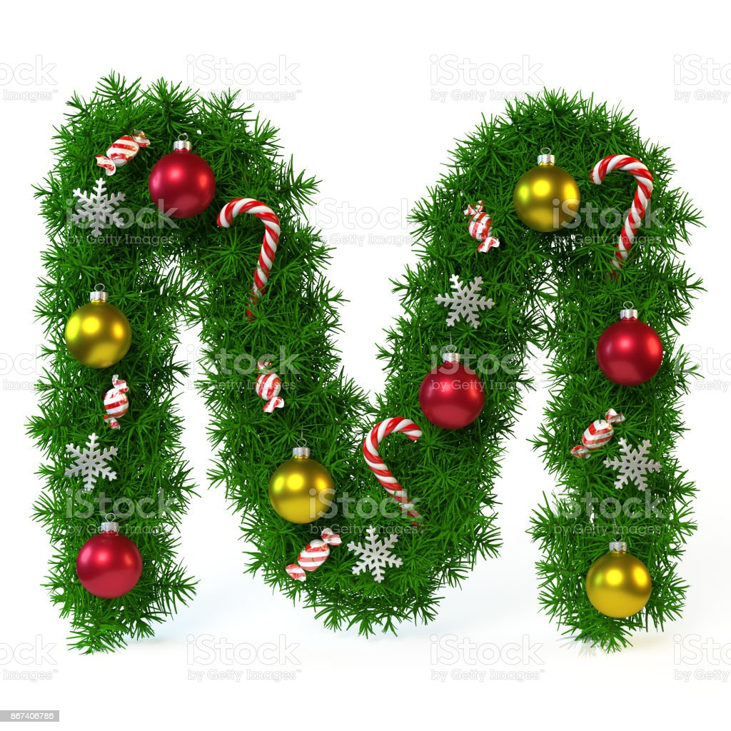 Christmas font isolated on white, letter M 3d rendering stock photo