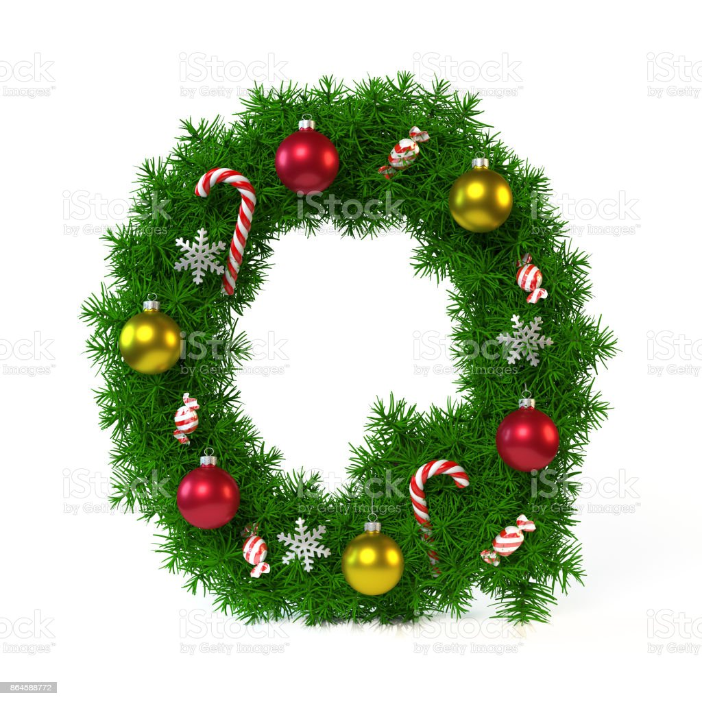 Christmas font isolated on white, letter Q royalty-free stock photo