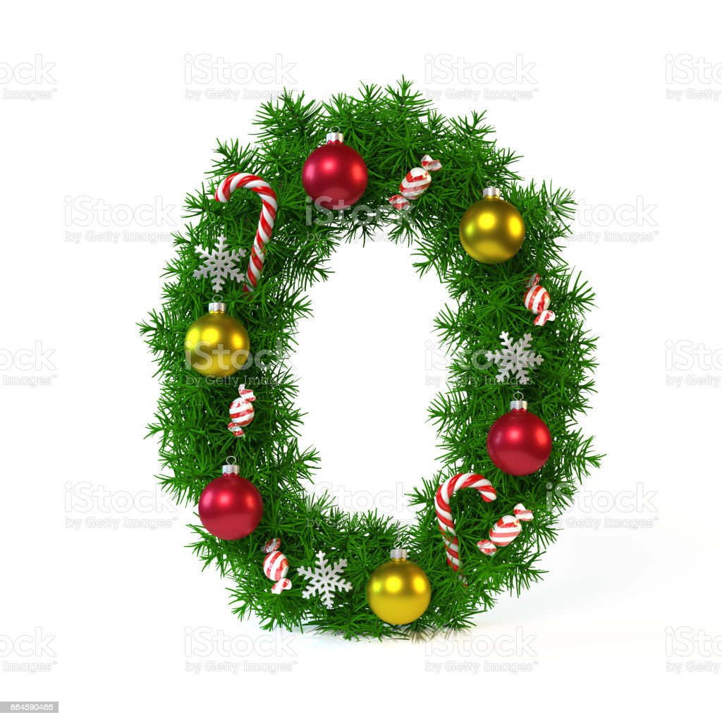 Christmas Font Isolated On White Number 0 Stock Photo & More Pictures of Alphabet - iStock