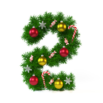 Christmas Font Isolated On White Number 2 3d Rendering Stock Photo & More Pictures of Alphabet ...