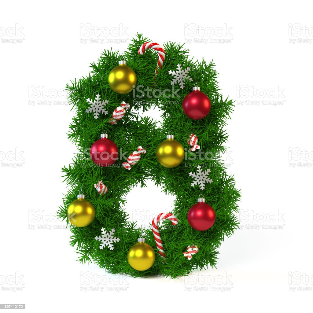 Christmas font isolated on white, number 8, 3d rendering stock photo