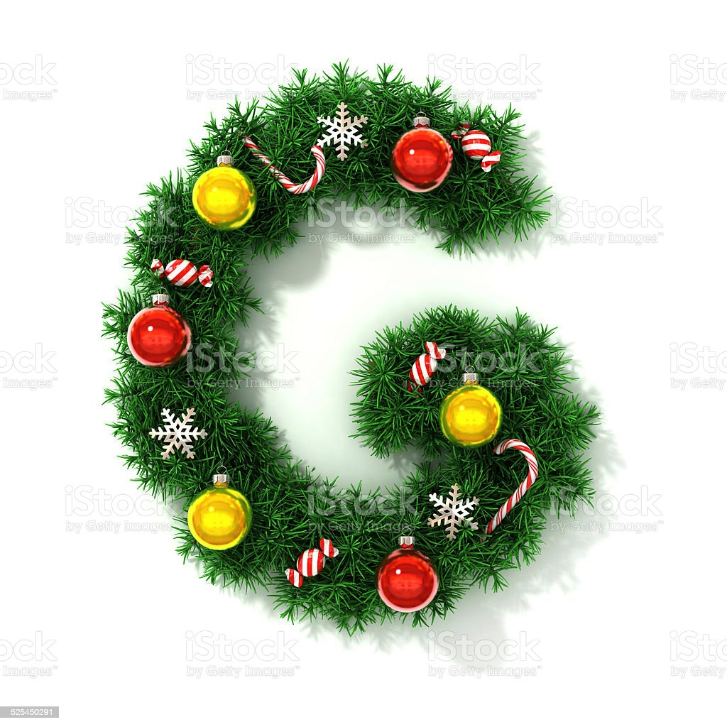 Christmas font letter G stock photo