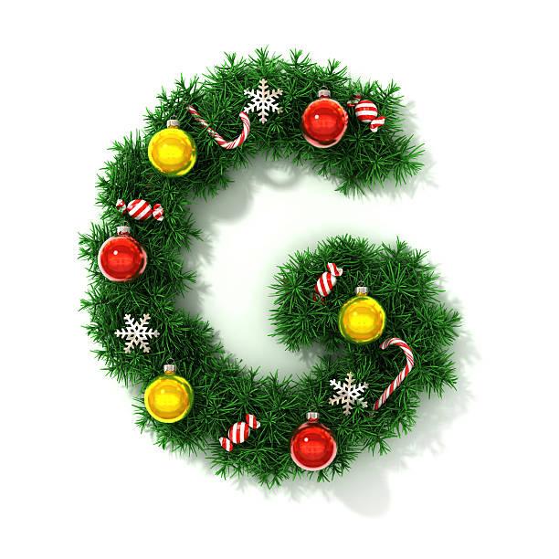 Christmas font letter G stock photo