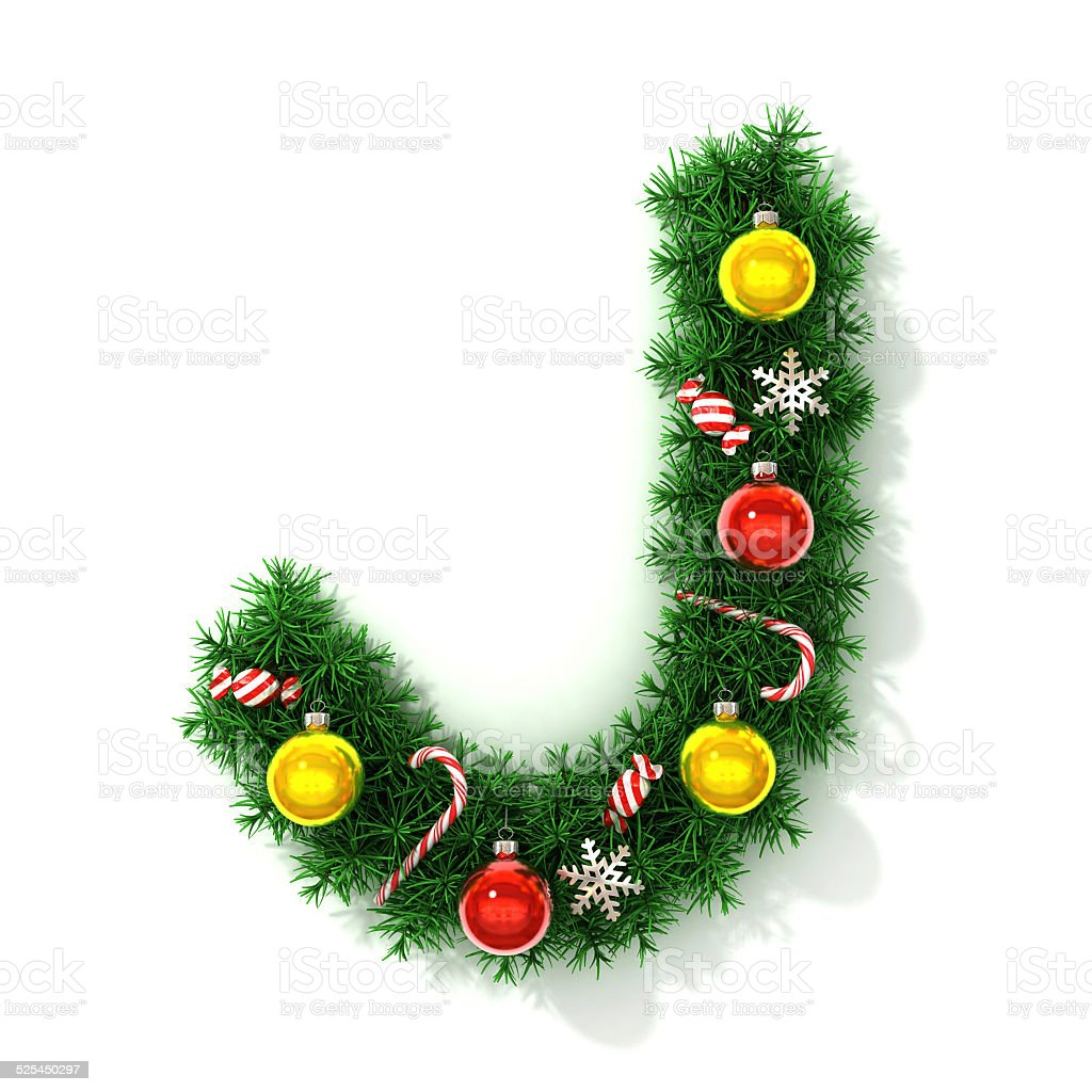 Christmas font letter J stock photo