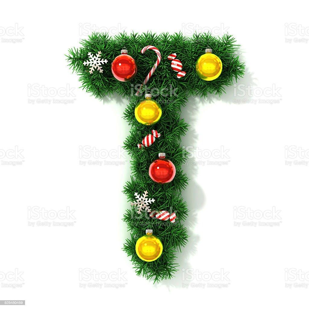 Christmas font letter T stock photo