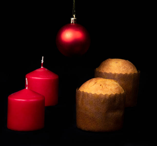 Christmas food and ornament composition stock photo