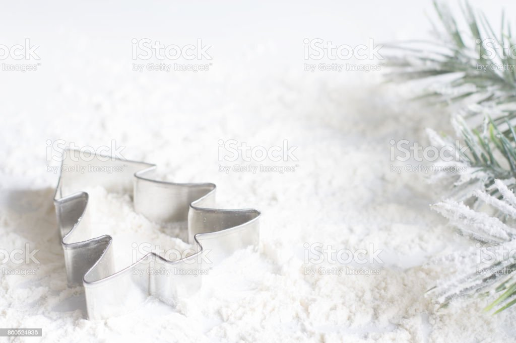 Christmas food concept with a tree cake mold on white background stock photo