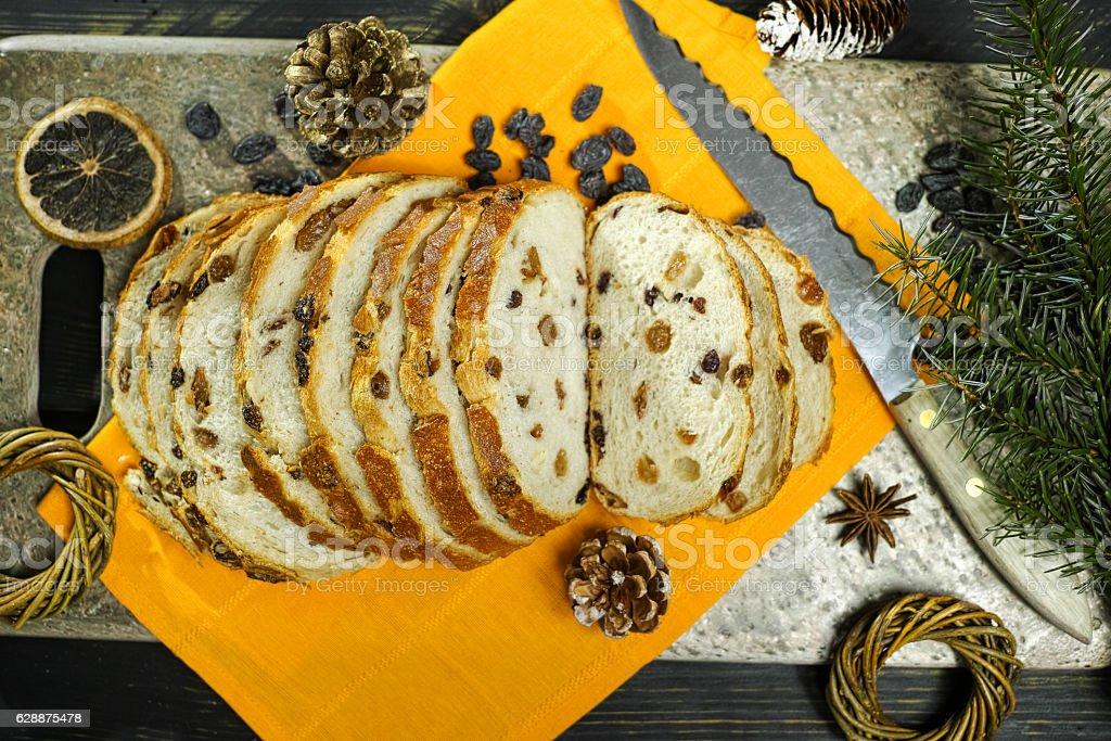 Christmas food - Fresh baked raisins bread stock photo