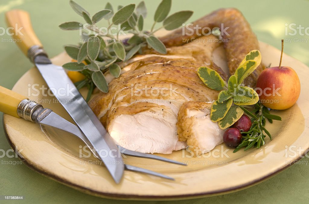 Christmas Food, Thanksgiving Roast Turkey Dinner, Meal on Dining Table royalty-free stock photo