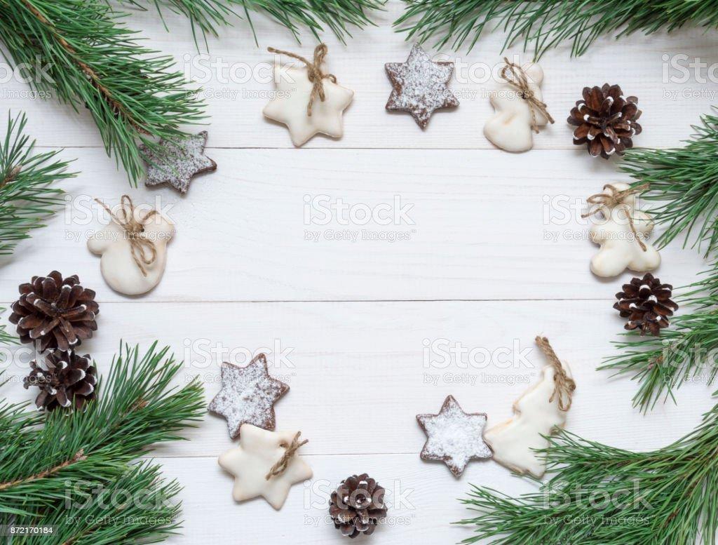 Arbre Bois Blanc Decoration photo libre de droit de cadre de noël fond de carte de voeux