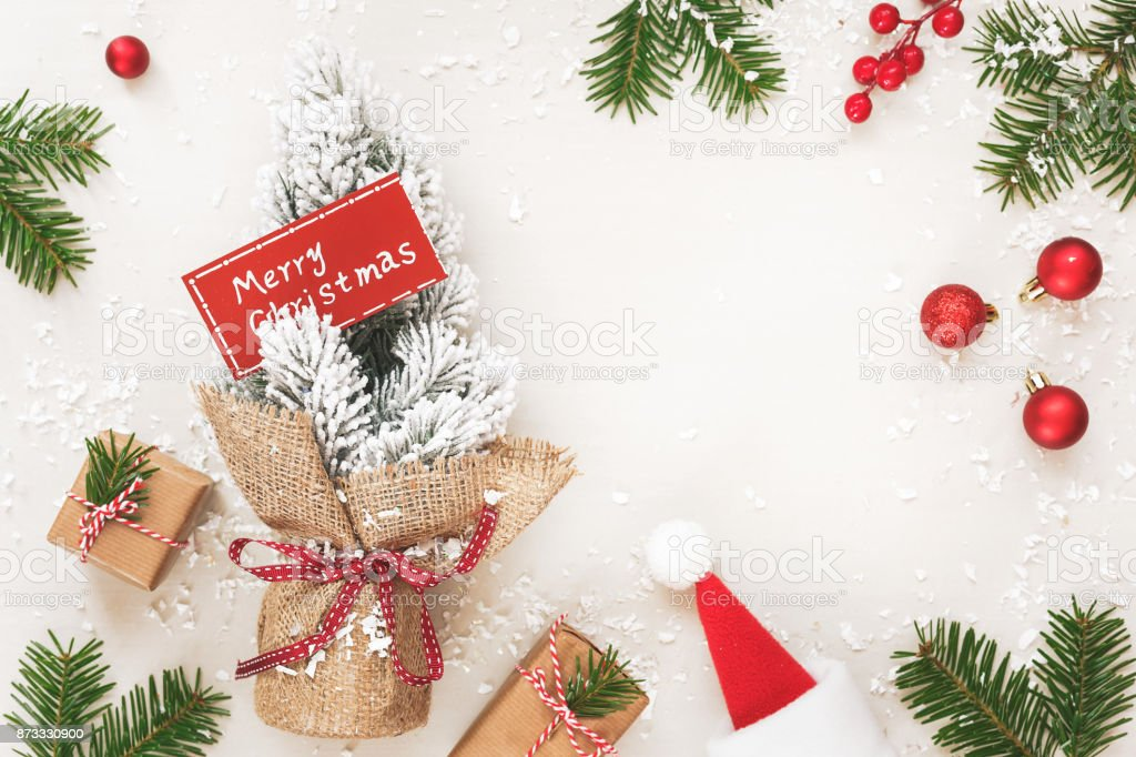 Christmas Frame Background With Ornaments And Snow Fir Tree Stock ...