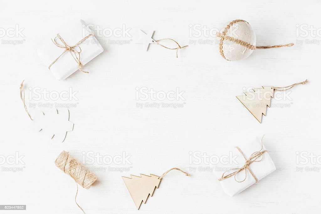 Christmas frame. Gifts, christmas decoration. Flat lay, top view stock photo