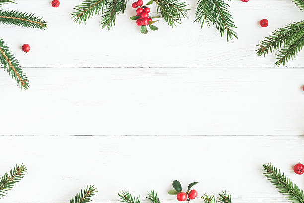 christmas frame made of fir branches, red berries. flat lay - christmas stock photos and pictures