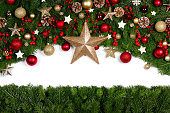 istock Christmas frame of tree branches 1180744129