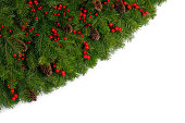 istock Christmas frame of tree branches 1182632044