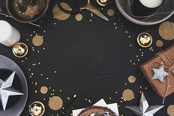 christmas frame on dark wood with styled decor - christmas decoration golden star bildbanksfoton och bilder