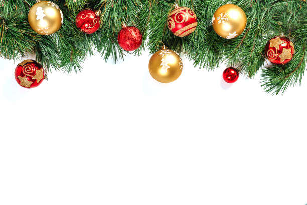 christmas frame - tree branches with gold and red balls isolated on white background. isolate. - garland stock photos and pictures