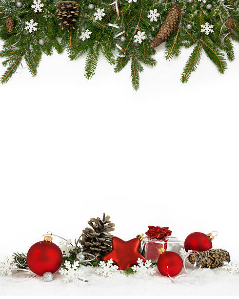 Christmas frame white snowflakes four-fifths - Photo