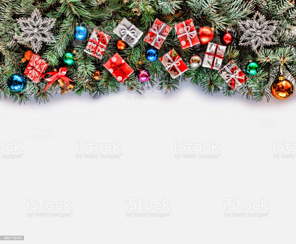 Christmas Frame With Christmas Branches And Christmas Decor Isolated On White Stock Photo Download Image Now Istock
