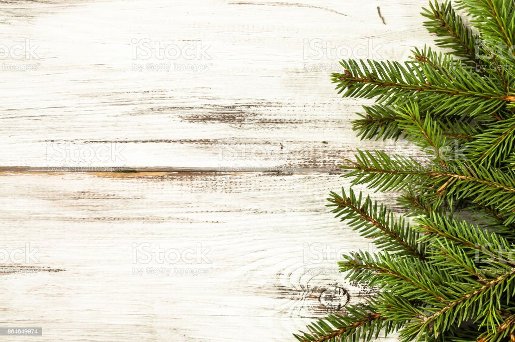 Christmas Frame With Fir Branches On Wooden Rustic Background Copy
