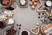 Christmas frame with nordic decor and traditional food