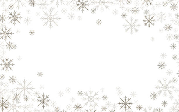 Christmas frame with silver and white snowflakes stock photo