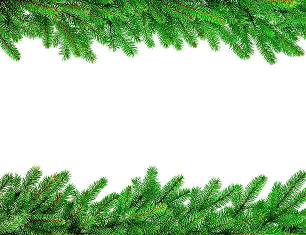 christmas garland border stock photo