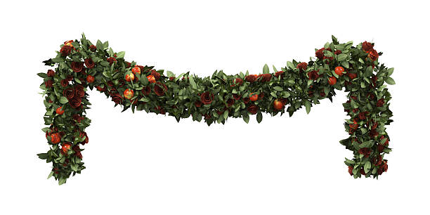 christmas garland decoration - garland stock photos and pictures