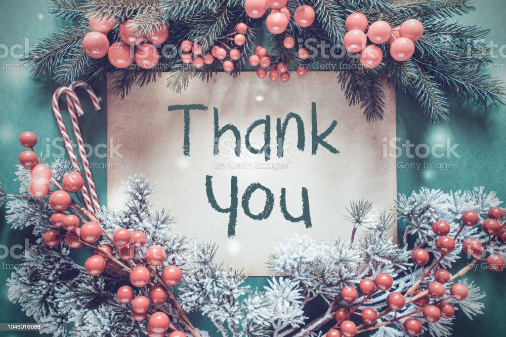 Weihnachtsgirlande, Tanne Zweig, Schneeflocken, Text danke – Foto