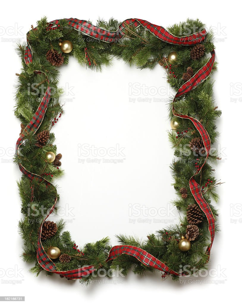 Christmas Garland Frame stock photo