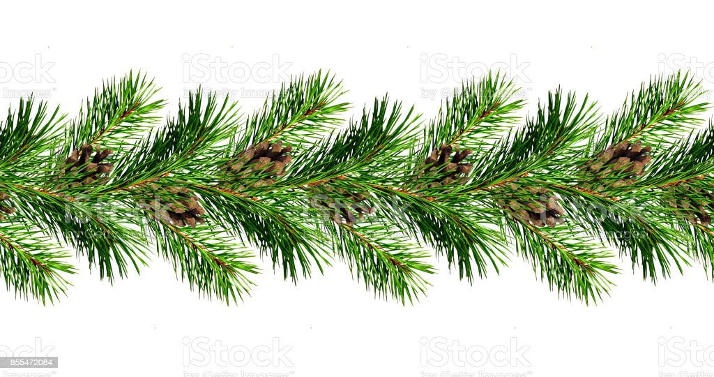 Christmas garland from pine tree twigs and cones stock photo