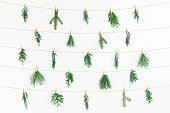 istock Christmas garland made of winter plants. Flat lay, top view 865512580
