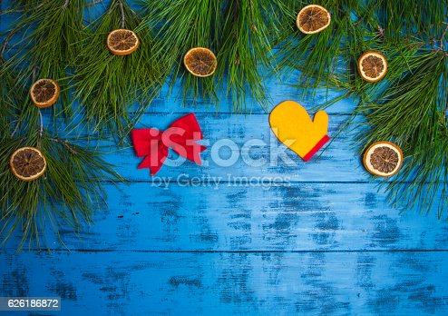 christmas garland of fir branches and dried orange slices stock photo istock