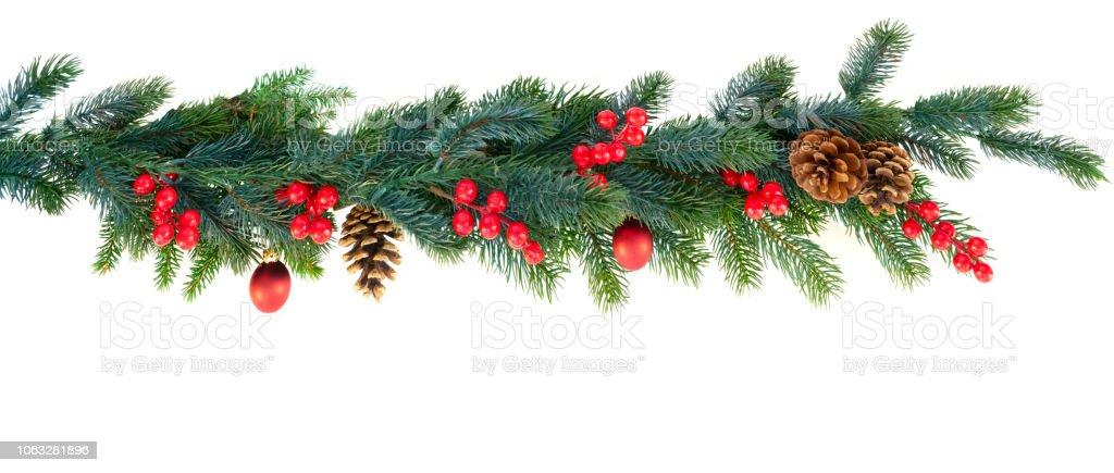 Christmas garland on white - Zbiór zdjęć royalty-free (Banner internetowy)