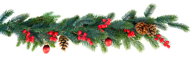 Christmas Garland On White - zdjęcia stockowe i więcej obrazów Banner internetowy