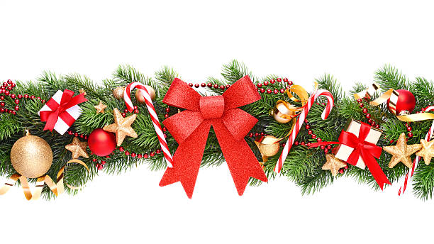 christmas garland on white - garland stock photos and pictures