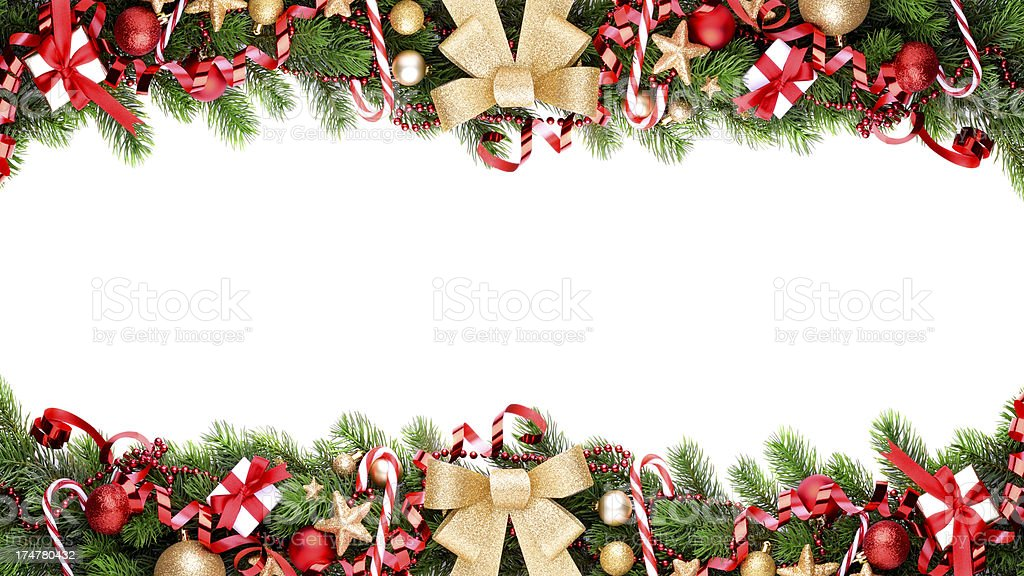 Christmas garland on white with copy space