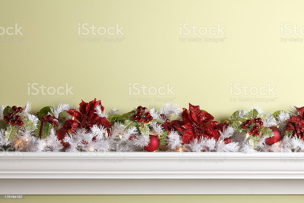 Christmas Garland & Ornamnets royalty-free stock photo
