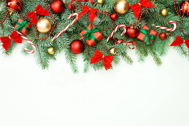 christmas garland - garland stock photos and pictures