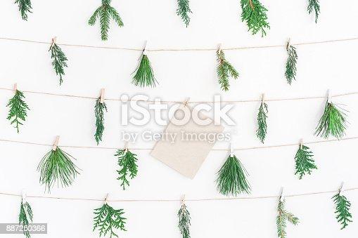 1064023690 istock photo Christmas garland  winter plants. Flat lay, top view 887250366
