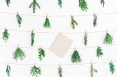 istock Christmas garland  winter plants. Flat lay, top view 887250366