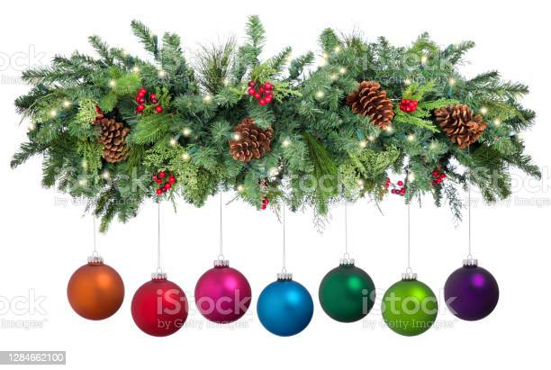 Photo of Christmas Garland with Baubles Isolated