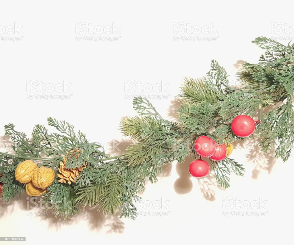 Christmas Garland With Nature Ornaments Stock Photo Download Image