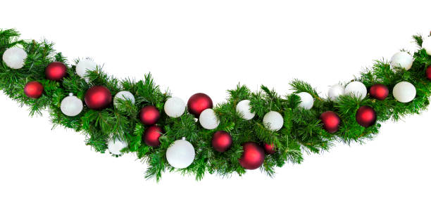 Christmas Garland with Red and Silver Baubles Isolated on White stock photo