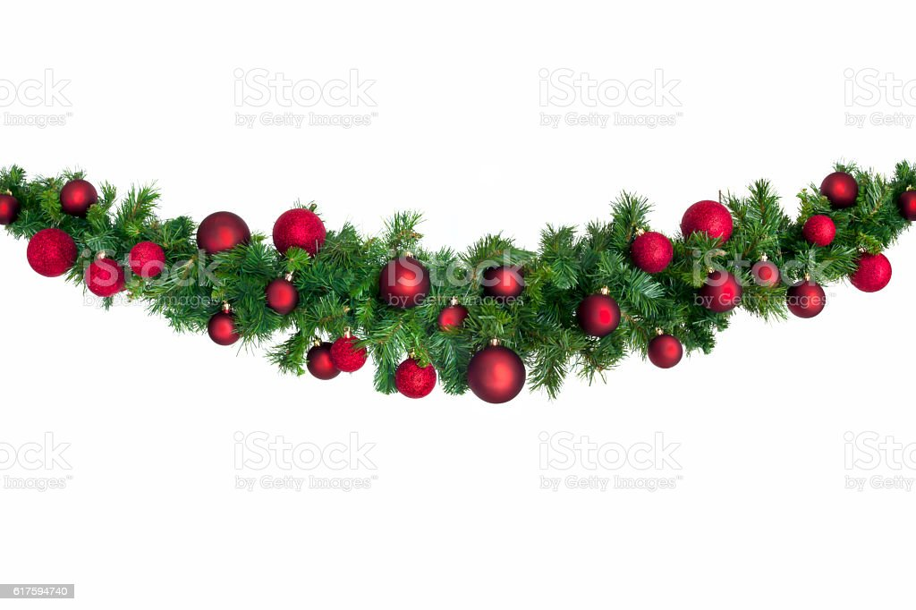 Christmas Garland with Red Baubles bildbanksfoto