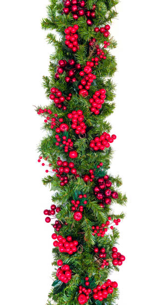 Christmas Garland with Red Berries Vertical Hang Isolated on White stock photo
